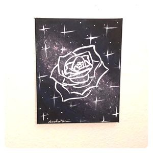 Hand Painted Galaxy Rose Canvas